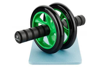 (Green) - BODYMATE Abdominal exercise roller Dual wheel with foam handles - Includes extra thick knee pad - Ab wheel