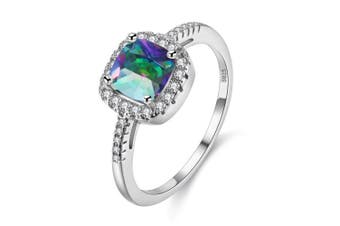 (Multi, Q) - Uloveido Platinum Plated Solitaire Rings for Women, Square Ring, Engagement Rings for Ladies with Cubic Zirconia Wedding Band White Gold Plating (Purple, Multi, Pink, Green, Yellow, Blue) Y3100