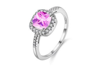 (Pink, S) - Uloveido Platinum Plated Solitaire Rings for Women, Square Ring, Engagement Rings for Ladies with Cubic Zirconia Wedding Band White Gold Plating (Purple, Multi, Pink, Green, Yellow, Blue) Y3100