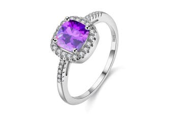 (Purple, Q) - Uloveido Platinum Plated Solitaire Rings for Women, Square Ring, Engagement Rings for Ladies with Cubic Zirconia Wedding Band White Gold Plating (Purple, Multi, Pink, Green, Yellow, Blue) Y3100