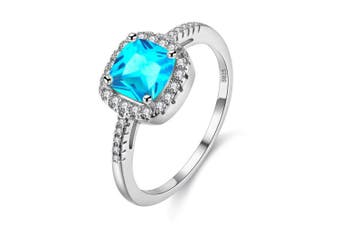 (Blue, Q) - Uloveido Platinum Plated Solitaire Rings for Women, Square Ring, Engagement Rings for Ladies with Cubic Zirconia Wedding Band White Gold Plating (Purple, Multi, Pink, Green, Yellow, Blue) Y3100