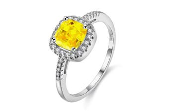 (Yellow, Q) - Uloveido Platinum Plated Solitaire Rings for Women, Square Ring, Engagement Rings for Ladies with Cubic Zirconia Wedding Band White Gold Plating (Purple, Multi, Pink, Green, Yellow, Blue) Y3100