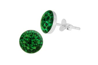 (Emerald Green) - Epoxy Clover Multi Crystal Stone Round 925 Sterling Silver Stud Earring