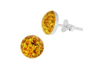 (Yellow) - Epoxy Clover Multi Crystal Stone Round 925 Sterling Silver Stud Earring
