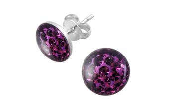 (Purple) - Epoxy Clover Multi Crystal Stone Round 925 Sterling Silver Stud Earring