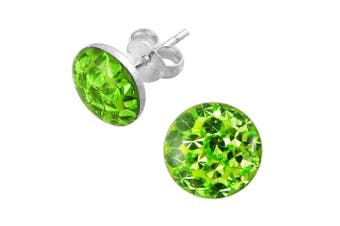 (Light Green) - Epoxy Clover Multi Crystal Stone Round 925 Sterling Silver Stud Earring