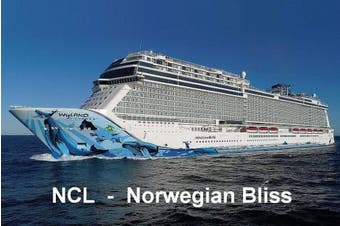 CRUISE SHIP FRIDGE MAGNET - NORWEGIAN CRUISE LINE - NORWEGIAN BLISS 3½ x 2½ inches Jumbo