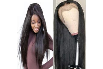 (46cm , 360 Straight Wig) - Bele Pre-Plucked Malaysian 10A Silky Straight Hair 360 Lace Frontal Wigs 150% Density With Nature Hairline Human Virgin Hair Nature Colour For Black Women 46cm