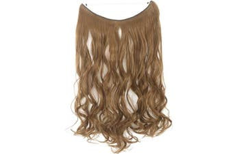 (60cm -Curly, Light Chestnut Brown#1) - 60cm - 60cm One Piece No Wire Hair Extensions Curly Synthesis Hair Miracle Secret Invisible Wire Hair Extensions No Clip Hairpieces for Ladies