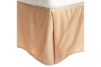 (Queen, Beige) - Superior 100% Premium Combed Cotton, Bed Skirt with 38cm Drop, Classic Pleated Sides and Split Corners to Accommodate Bed Posts, Beige - Queen