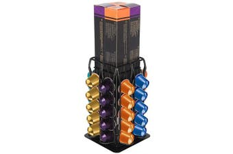 (80 Pods Short, Black) - Flagship Coffee Pods Holder Stand for Nespresso OriginalLine, Capsule Storage Holder Rack with Extre Centre Space Large Capacity (Total Capacity80 Pods)