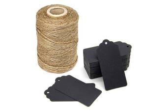 (Black) - 90m Natural Jute Twine and 100PCS Black Retangle Kraft Paper Gift Tags for Crafts & Price Tags Lables by Blisstime