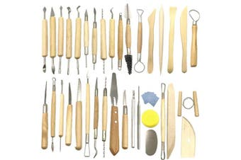 Aisamco 40 Pcs Ceramic Clay Tools Kit Pottery Sculpting Tools Set for Beginners Professional Art Crafts, Wood and Steel, Schools and Home Safe for Kids