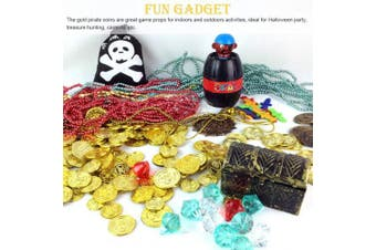 (F) - BESTZY 100 Pcs Pirate Gold Coins and 100 Pcs Pirate Treasure Gems Plastic Coins Diamonds Treasure Jewels Games Set for Play Favour Party Supplies,Totally 200 Pieces