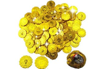(E) - BESTZY 100 Pieces Angular Gold Coins Plastic Coins Fake Treasure Coins for Party Favour