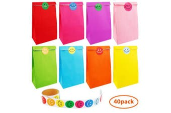 Augshy 40 Pcs Favour Paper Bags with A Roll of 100 Smile Face Stickers for Kids Chirstmas Birthday Party Supplies