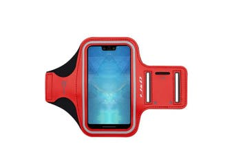 (Red) - J & D Armband Compatible for Google Pixel XL/2 XL/3 XL/3a XL/4 XL/Moto G8 Play Armband, Sports Armband w/Key holder Slot, Perfect Earphone Connexion while Workout, Running Pixel XL Running Armband