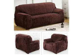 (Coffee, 2 seat(145-185cm)) - Yeahmart Thick Sofa Covers 1/2/3 Seater Pure Colour Sofa Protector Velvet Easy Fit Elastic Fabric Stretch Couch Slipcover (Coffee, 2 Seater 145-185cm)