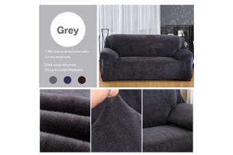 (Grey, 2 seat(145-185cm)) - Yeahmart Thick Sofa Covers 1/2/3 Seater Pure Colour Sofa Protector Velvet Easy Fit Elastic Fabric Stretch Couch Slipcover (Grey, 2 Seater 145-185cm)