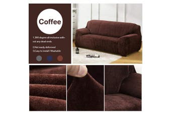 (Coffee, 1 seat(90-140cm)) - Yeahmart Thick Sofa Covers 1/2/3 Seater Pure Colour Sofa Protector Velvet Easy Fit Elastic Fabric Stretch Couch Slipcover (Coffee, 1 Seater 90-140cm)