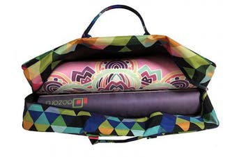 (Triangle) - All-in-one Yoga Mat Bag with Pocket and Zipper - Patterned Canvas
