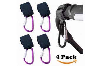 (Purple) - Buggy & Pram Clips,Convenient Stroller Hooks & Mummy Clip for Your Shopping Bag and Baby Change Bag. Universal fit, Multicolor (4 pcs Purple Buggy Clips)