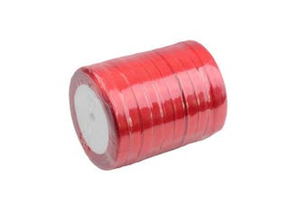 (Red) - Aokbean 10pcs 1cm Assorted Solid Bright Colours 25 Yard Each- Total 250 Yds Satin Ribbon Roll Bow Making Ribbons for Gift Wrap DIY Bow Wedding Decoration (Red)