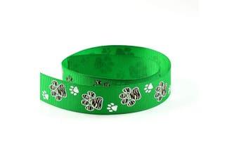 "(10 Yards, Emerald Green) - Silver Sparkle Zebra Paw Animal Print Cheer Grosgrain Polyester Ribbon 10 Yards 7/8"" 22mm - Exclusive Design (10 Yards, Emerald Green)"