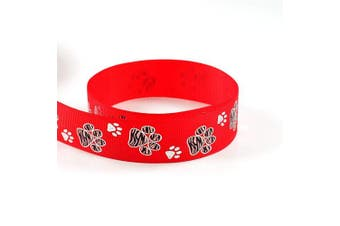 """(10 Yards, Red) - Silver Sparkle Zebra Paw Animal Print Cheer Grosgrain Polyester Ribbon 10 Yards 7/8"""" 22mm - Exclusive Design (10 Yards, Red)"""