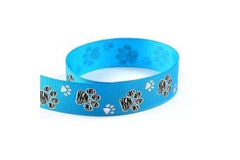 "(10 Yards, Turquoise Blue) - Silver Sparkle Zebra Paw Animal Print Cheer Grosgrain Polyester Ribbon 10 Yards 7/8"" 22mm - Exclusive Design (10 Yards, Turquoise Blue)"