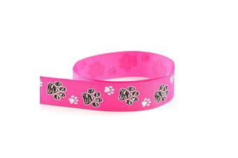 """(10 Yards, Hot Pink) - Silver Sparkle Zebra Paw Animal Print Cheer Grosgrain Polyester Ribbon 10 Yards 7/8"""" 22mm - Exclusive Design (10 Yards, Hot Pink)"""