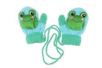 (Turquoise Frog) - Adorable Super Soft Baby Girls Boys Warm Winter Mittens 1-2 Years (Turquoise Frog)