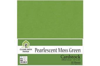 (30cm  x 30cm  - 10 Sheets, Moss Green) - Pearl Shimmer Metallic Moss Green Cardstock - 30cm x 30cm - 48kg Cover - 10 Sheets