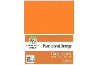 (22cm  x 28cm  - 10 Sheets, Orange) - Pearl Shimmer Metallic Orange Cardstock - 22cm x 28cm - 48kg Cover - 10 Sheets