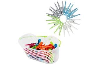 (Clothespin Basket Set1) - COM-FOUR 30x clothespins in basket + 12 clothespins with softgrip (Clothespin Basket Set1)
