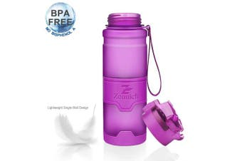(14oz/400ml, Purple) - Best Sports Water Bottle Leak Proof 1L/700ml/500ml/400ml Plastic Drink Bottles Kids,Adults,Gym,School,Sport,Cycling  with Times to Drink & Fruit Infuser Filter & Lock Cover BPA Free Reusable Large