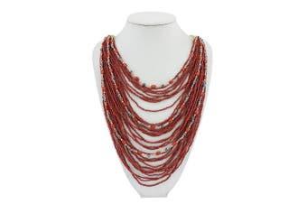 (Wine) - BOCAR Multi-Layer Long Chain Chunky Bib Seed Beads Statement Necklace (NK-10410)