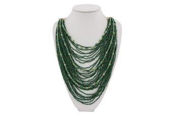 (Deep Green) - BOCAR Multi-Layer Long Chain Chunky Bib Seed Beads Statement Necklace (NK-10410)