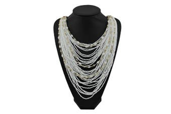 (White) - BOCAR Multi-Layer Long Chain Chunky Bib Seed Beads Statement Necklace (NK-10410)
