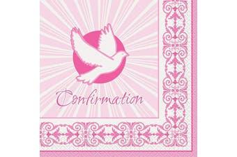 (Confirmation Napkins, Pink) - Unique Party 43804 - Radiant Cross Pink Confirmation Napkins, Pack of 16
