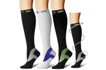 (Large/X-Large, Assort12) - Bluemaple Compression Socks,(3or7pair) for Women & Men - Best for Running, Athletic Sports, Crossfit, Flight Travel -Maternity Pregnancy, Shin Splints - Below Knee High