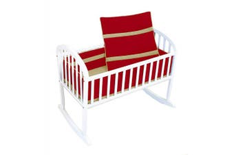 (Red/Yellow) - Baby Doll Solid Bedding Stripe Cradle Bedding Set, Red/Yellow