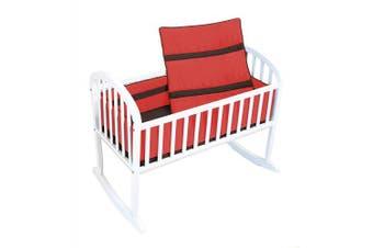 (Orange/Brown) - Baby Doll Bedding Solid Stripe Cradle Bedding Set, Orange/Brown