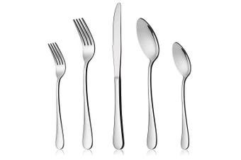 (10-Piece Set) - 10-Piece Silverware Flatware Set for 2, LIANYU Stainless Steel Cutlery Eating Utensils, Mirror Finished, Dishwasher Safe