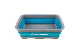 (Blue) - Wakeman Outdoors Collapsible Multiuse Wash Bin- Portable Wash Basin/Dish Tub/Ice Bucket with 10 L Capacity for Camping, Tailgating, More