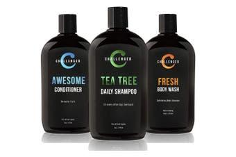 (Shampoo, Conditioner & Fresh) - Challenger Super Pack - Tea Tree Shampoo, Conditioner & Body wash