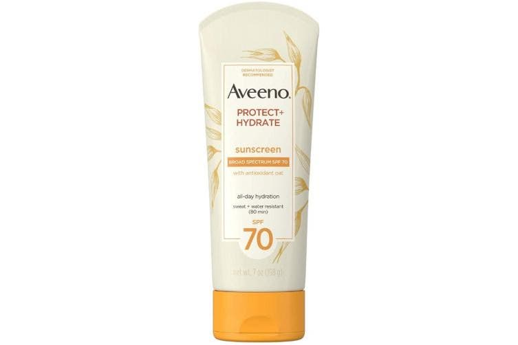 AVEENO Protect + Hydrate Moisturising Sunscreen Lotion with Broad Spectrum SPF 70 & Antioxidant Oat, Oil-Free, Sweat- & Water-Resistant 210ml