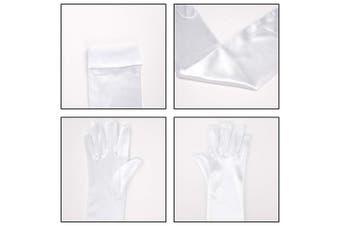 (White) - SAVITA Long White Elbow Length Satin Gloves 50cm Stretchy Opera Evening Party 1920s Gloves Bridal Dance Gloves for Women