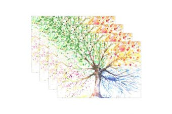 (1) - ALAZA Four Seasons Tree Placemats for Dining Table Heat Resistant Kitchen Table Decor Washable Table Mats 1 Piece