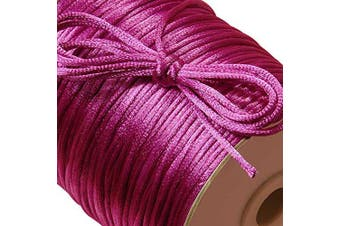 (Fuchsia) - Ben Collection 2mm X 100 Yard Rattail Satin Nylon Trim Cord Chinese Knot (Fuchsia)